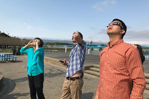Solar eclipse staff watching