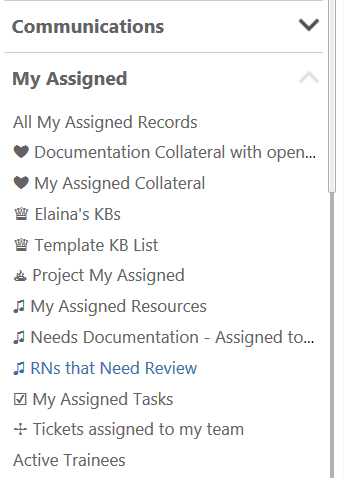 Screenshot of My Assigned in Agiloft