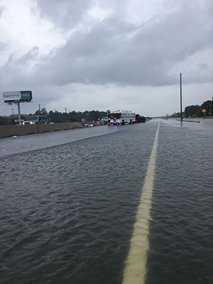 Highway flooded with rainwater