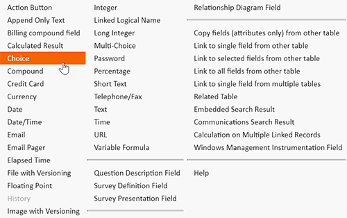 Configurable field types