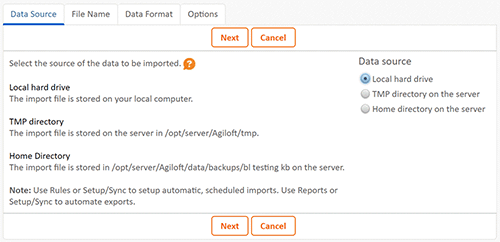 Import-Export First Screen