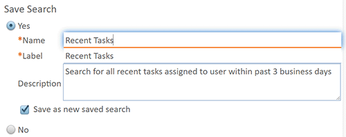 Saving a Database Search
